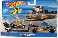 Грузовик-трейлер Hot Wheels и машина  Steel Power BDW51