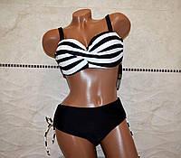 50 размер! Стильный раздельный черный женский купальник лиф в белую полоску, чашка на косточках.
