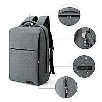 Рюкзак для ноутбука серый BAGSMART, фото 6
