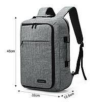 Рюкзак для ноутбука 15.6″ Pomona Bagsmart серый , фото 6