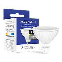 Лампа светодиодная Global 3W MR16 GU5.3 теплый белый