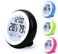 Цифровой гигрометр термометр с сенсорным экраном Round Black