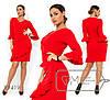 Платье женское из креп дайвинга с воланами (3 цвета) - Красный SD/-624