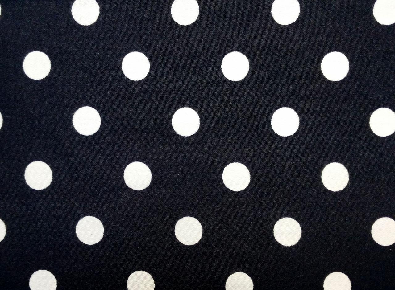 Коттон сатин рисунок горох 12 мм, черный
