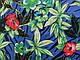 Коттон сатин рисунок тропический, синий, фото 2