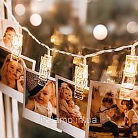 Светодиодная свадебная гирлянда на батарейках  в виде прищепок для фотографий, фото 1