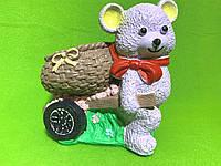 Подставка для карандашей гипсовая «Мишка с тележкой»