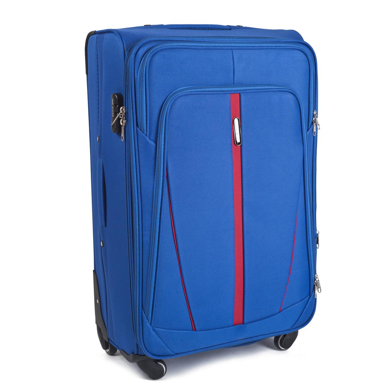 Большой тканевый чемодан Wings 1706 на 4 колесах голубой