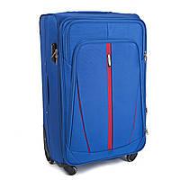 Большой тканевый чемодан Wings 1706 на 4 колесах голубой, фото 1
