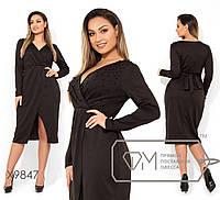 Платье женскоедекорировано бусинами (4 цвета) - Черный АК/-698