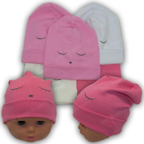 ОПТ Дитяча шапка трикотажна для дівчинки, р. 40-42 (5шт/упаковка)