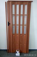 Дверь гармошка полуостекленная 860х2030х12мм. Вишня CL (806), фото 1