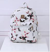 7750908048e9 Женский повседневный рюкзак сумка MOJOYCCE кожа PU цветочный принт. В  описании замеры! БЕЛЫЙ