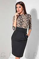Черно-бежевое деловое платье миди с юбкой тюльпан