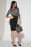 Черно-белое деловое платье миди с юбкой тюльпан