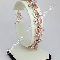 Срібний браслет з золотими пластинами та фіанітами