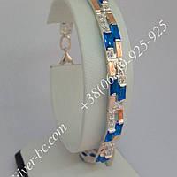 Класичний срібний браслет з золотими пластинами та фіанітами