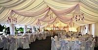 Драпировка тканью, оформление свадьбы, тканевый декор на прокат киев