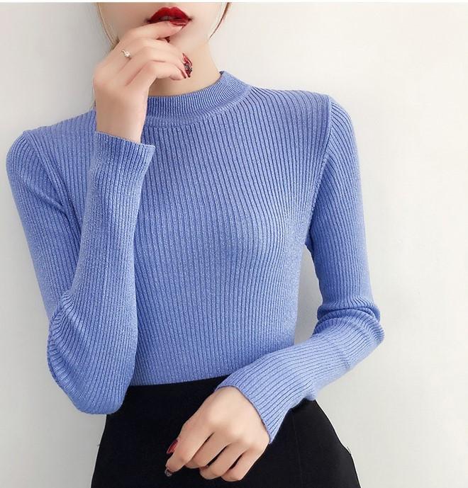 Жіночий гольф, светр з люрексом синій