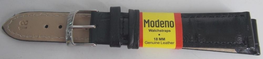 Ремешок кожаный Modeno черный лак 18 мм