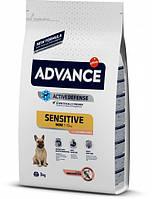 Сухой корм для собак Advance Dog Mini Sensitive 3 кг. для собак малых пород с чувствительным пищеварением