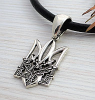 Кулон Тризуб трезубец украинский оберег серебро