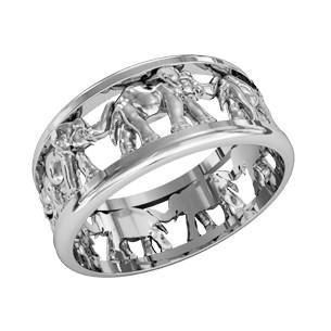 Кольцо унисекс серебряное Слоны