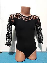 Детский купальник с гипюром  для танцев и гимнастики.Трико для гимнастики. Одежда для гимнастики и хореографии