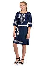 Женское платье вышиванка лен-габардин, темно-синяя