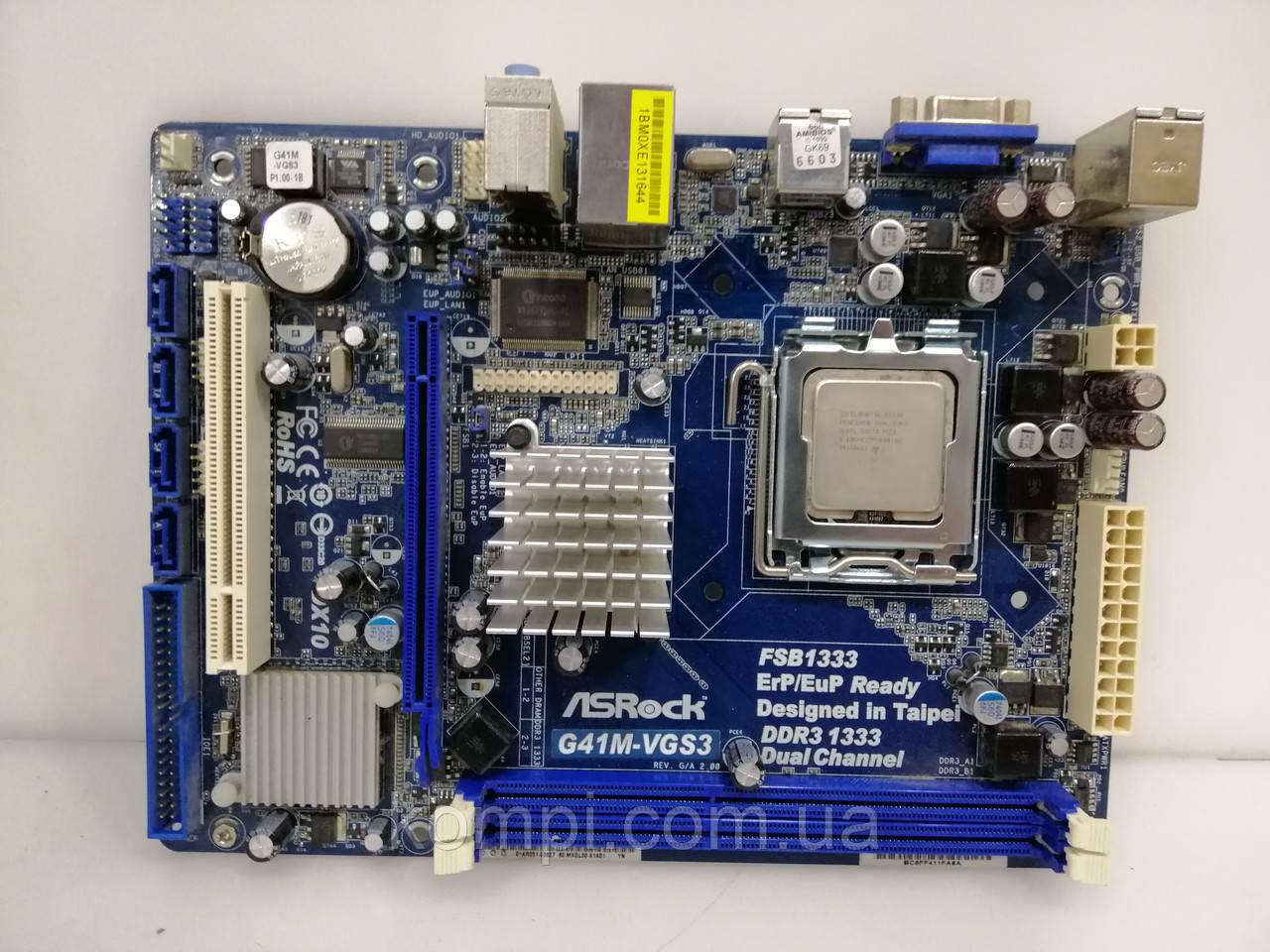 Материнская плата ASRock  G41M VGS3 +E5300  S775/QUAD DDR3