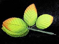Лист розы декоративный  10шт зеленый с желтизной