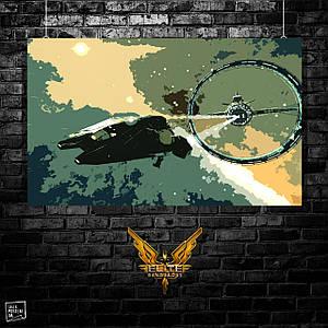 Постер Elite:Dangerous, E:D, Элита. Размер 60x37см (A2). Глянцевая бумага