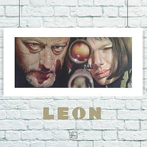 Постер Леон учит Матильду стрелять из снайперской винтовки, рисунок. Размер 60x30см (A2). Глянцевая бумага