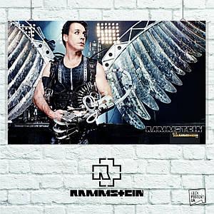 """Плакат """"Rammstein, Рамштайн, Тилль с крыльями"""". Размер 60x38см (A2). Глянцевая бумага"""