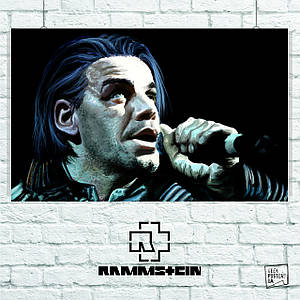 "Плакат ""Rammstein, Рамштайн, Тилль Линдеманн"", рисунок, репродукция. Размер 60x38см (A2). Глянцевая бумага"