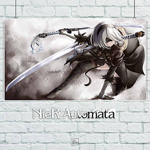 Постер Nier:Automata, Ниа Отомата. Размер 60x35см (A2). Глянцевая бумага