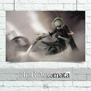 Постер Nier:Automata, Ниа Отомата. Размер 60x34см (A2). Глянцевая бумага