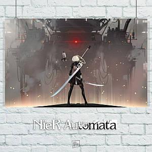 Постер Nier:Automata, Ниа Отомата. Размер 60x38см (A2). Глянцевая бумага