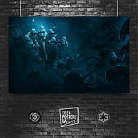 Постер Vader's Fist, штурмовики окружены ксеноморфами, Чужие, Чужой, Звёздные Войны, Вейдер. Размер 60x28см (A2). Глянцевая бумага