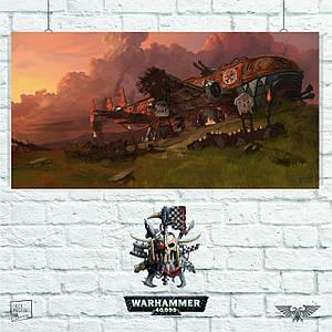 Постер Warhammer 40000, корабль орков, Вархаммер, ваха. Размер 60x31см (A2). Глянцевая бумага