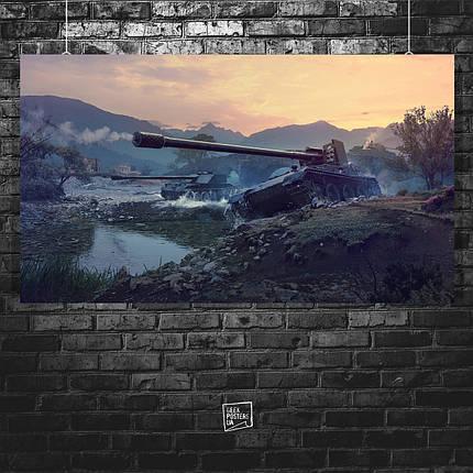Постер Танки на закате. Размер 60x34см (A2). Глянцевая бумага, фото 2