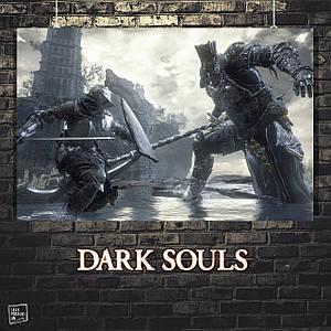 Постер Dark Souls, Тёмные души. Размер 60x34см (A2). Глянцевая бумага