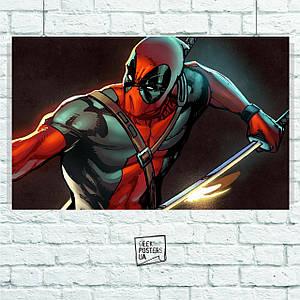 Постер Deadpool (арт, с мечом, комиксовый). Размер 60x38см (A2). Глянцевая бумага