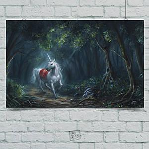 """Постер """"Единорог в темном лесу"""". Размер 60x34см (A2). Глянцевая бумага"""