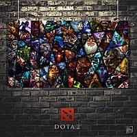 Постер Dota 2, Дота 2, коллаж из всех персонажей. Размер 60x34см (A2). Глянцевая бумага