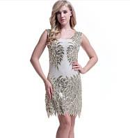 8fd63461efc Красивое женское платье расшитое золотистыми пайетками и бисером бежевое