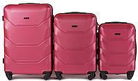 Комплект пластиковых чемоданов Wings 147-3 на 4 колесах, фото 1