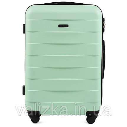 Пластиковый чемодан Wings 401 средний 4- колесный мятный, фото 2