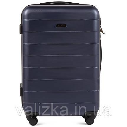 Пластиковый чемодан Wings 401 средний 4- колесный синий, фото 2