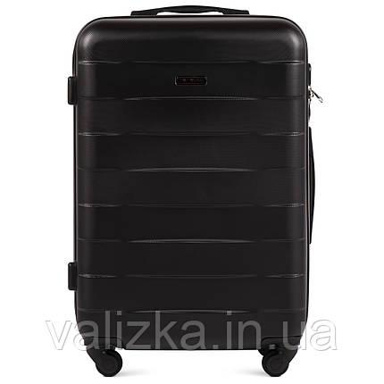 Пластиковый чемодан Wings 401 средний 4- колесный черный, фото 2